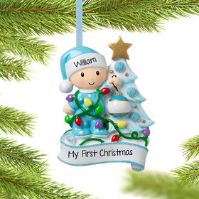 Personalized Baby Boy Decorating Tree