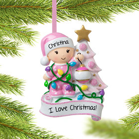 Personalized Baby Girl Decorating Tree