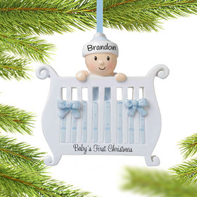 Personalized Baby Boy in Crib First Christmas