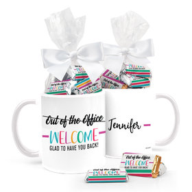 Personalized Quarantine Rainbow Welcome Back 11oz Mug with approx. 24 Wrapped Hershey's Miniatures