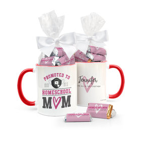 Personalized Mother's Day Home School Mom 11oz Mug with approx. 24 Wrapped Hershey's Miniatures