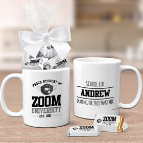 Quarantine Gifts Zoom University Personalized 11oz Coffee Mug with approx. 24 Wrapped Hershey's Miniatures