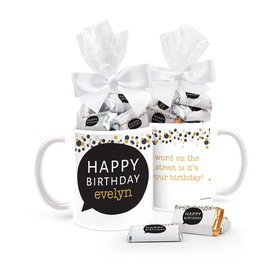 Birthday Gifts Personalized 11oz Coffee Mug with approx. 24 Wrapped Hershey's Miniatures