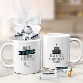 Quarantine Birthday Gifts Personalized 11oz Coffee Mug with approx. 24 Wrapped Hershey's Miniatures - TP