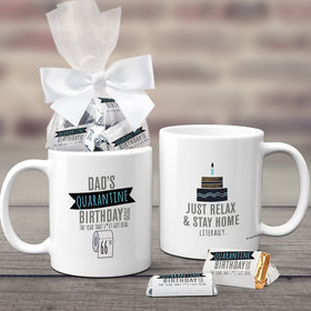 Quarantine Birthday Gifts Personalized 11oz Coffee Mug with approx. 24 Wrapped Hershey's Miniatures - TP Dad