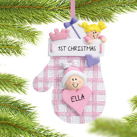 Personalized Baby Mitten Pink