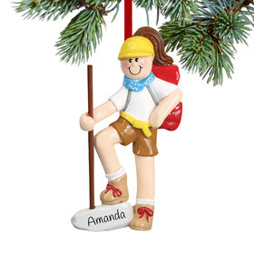 Personalized Female Hiker with Walking Stick