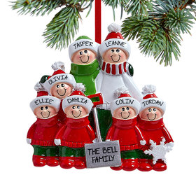 Personalized Snow Shovel Family of 7 (Red and Green)
