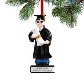 Personalized Graduate Boy on a Stack of Books Holding a Diploma
