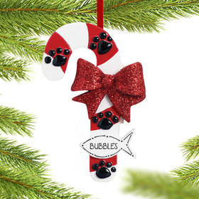 Personalized Cat Candy Cane with Fish