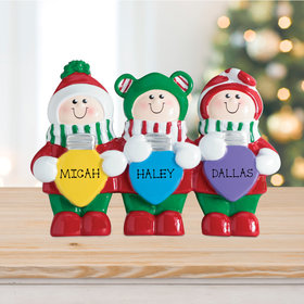 Personalized Christmas Lights Tabletop Family of 3