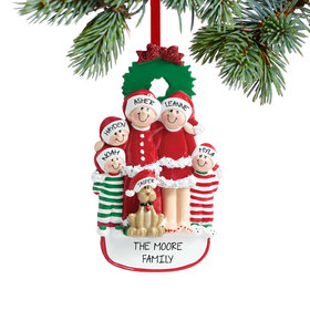 Personalized Christmas Eve Family of 5 with Dog