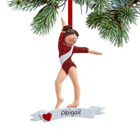 Personalized Gymnast in Red Leotard