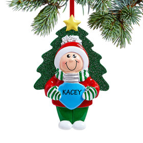 Personalized Boy Holding Christmas Bulb