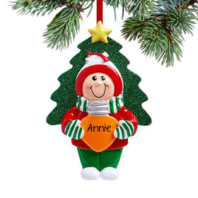 Personalized Girl Holding Christmas Bulb