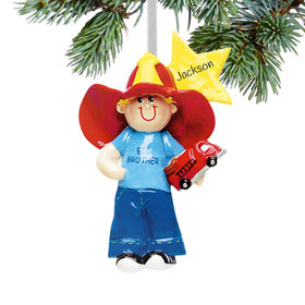 Personalized Big Brother with Firetruck and Yellow Star