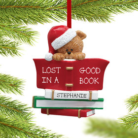 Personalized Book Club Bear Wearing A Santa Hat