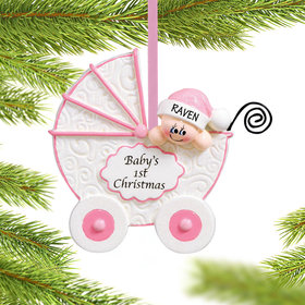 Personalized Baby Buggy 1st Christmas Girl