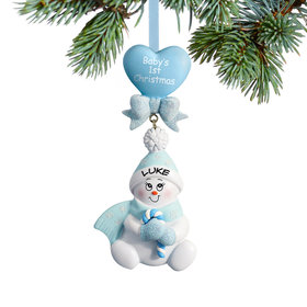 Personalized Baby's 1st Christmas Blue Snowbaby with Candy Cane