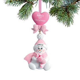 Personalized Baby's 1st Christmas Pink Snowbaby with Candy Cane