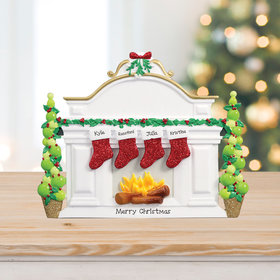 Personalized Mantel with 4 Stockings Tabletop
