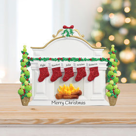 Personalized Mantel with 5 Stockings Tabletop