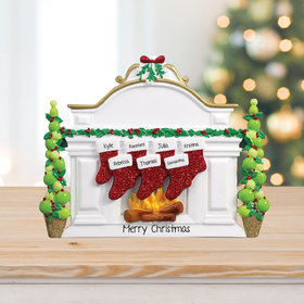 Personalized Mantel with 7 Stockings Tabletop