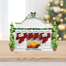 Personalized Mantel with 8 Stockings Tabletop