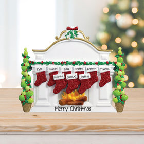 Personalized Mantel with 9 Stockings Tabletop