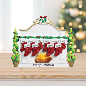 Personalized Mantel with 10 Stockings Tabletop