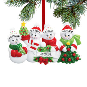Personalized Snowmen with Banner Family of 4