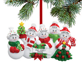 Personalized Snowmen with Banner Family of 5