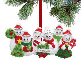 Personalized Snowmen with Banner Family of 6