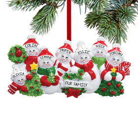 Personalized Snowmen with Banner Family of 7