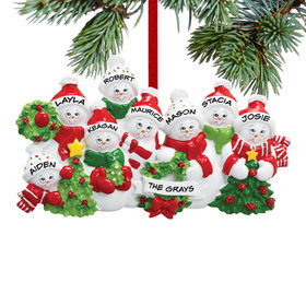Personalized Snowmen with Banner Family of 8