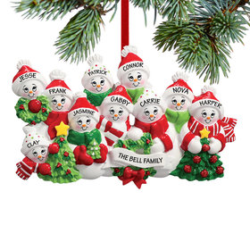Personalized Snowmen with Banner Family of 10