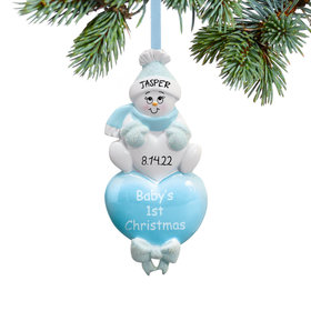 Personalized Baby Boy's 1st Christmas Blue Snowman