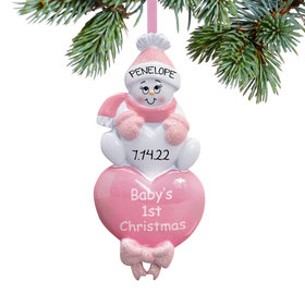 Personalized Baby Girl's 1st Christmas Pink Snowman