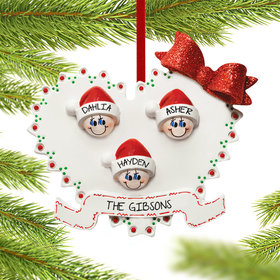 Personalized Heart Family of 3