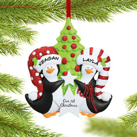 Personalized Our 1st Christmas Penguin Couple Decorating the Tree