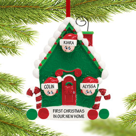 Personalized Candy Cane House Family of 3