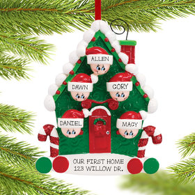Personalized Candy Cane House Family of 5