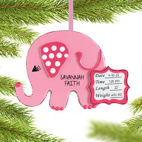 Personalized Baby Girl Pink Elephant