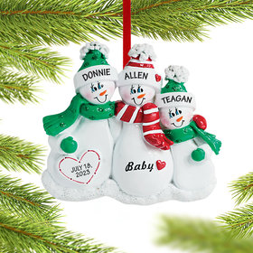 Personalized Pregnant Snowman Family of 3