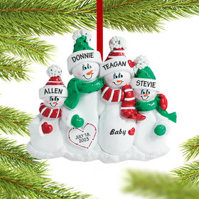 Personalized Pregnant Snowman Family of 4