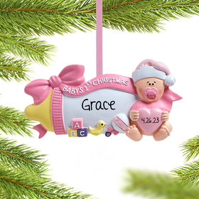 Personalized Baby's 1st Christmas Baby Bottle (Pink)