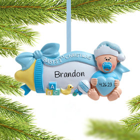 Personalized Baby's First Christmas Baby Bottle (Blue)