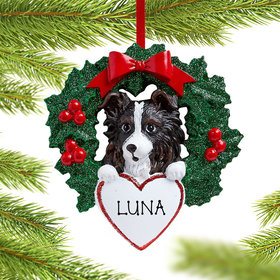 Personalized Personalized Personalized Australian Shepherd Dog with Wreath