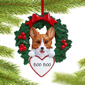 Personalized Corgi Dog with Wreath