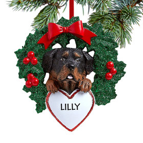 Personalized Rottweiler Dog with Wreath